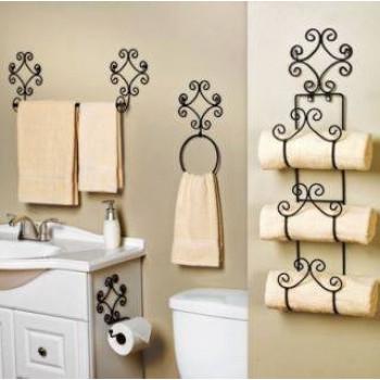Kit banheiro em ferro arabesco – vintage retro – 4 peças
