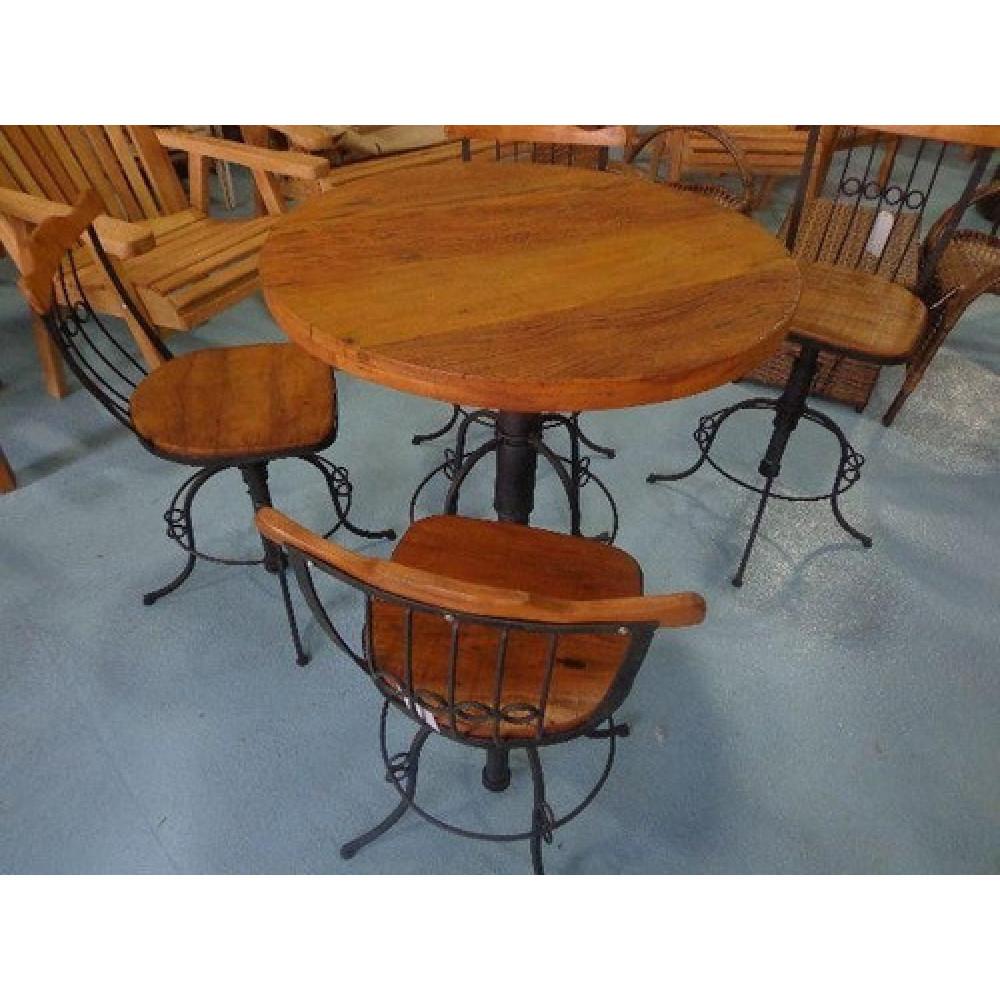 Mesa bistro vintage - ferro e madeira de demolição peroba rosa com 4 cadeiras giratórias