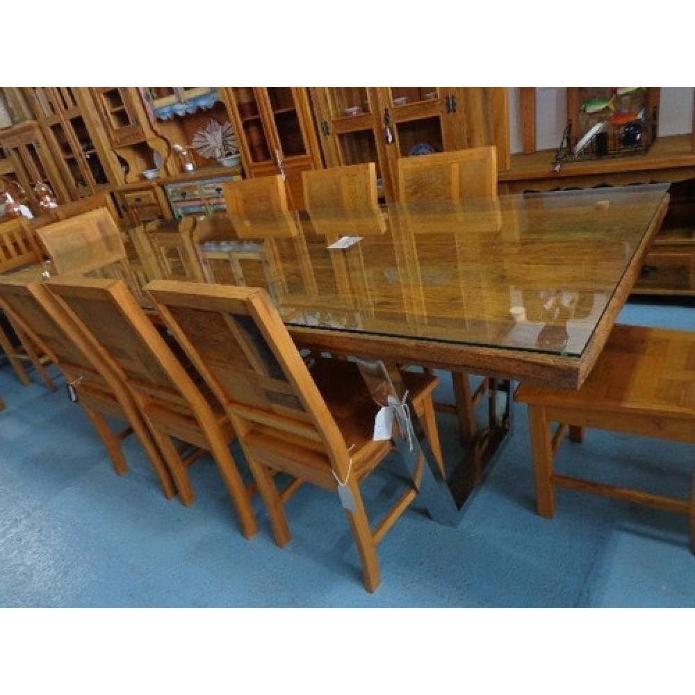 Mesa de jantar rustica designer moderno com 8 cadeiras