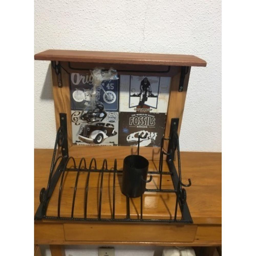 Paneleiro rústico em ferro e madeira com azulejo retro - (cod10)