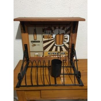Paneleiro rústico em ferro e madeira beer - (cod03)