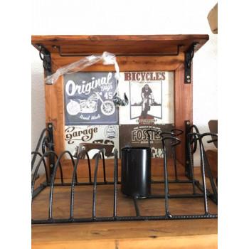 Paneleiro rústico em ferro e madeira beer gold - (cod05)