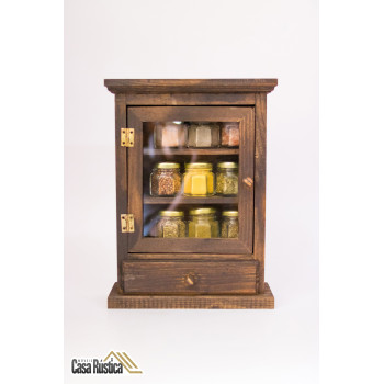 Porta temperos / condimentos com armário de madeira de 1 porta