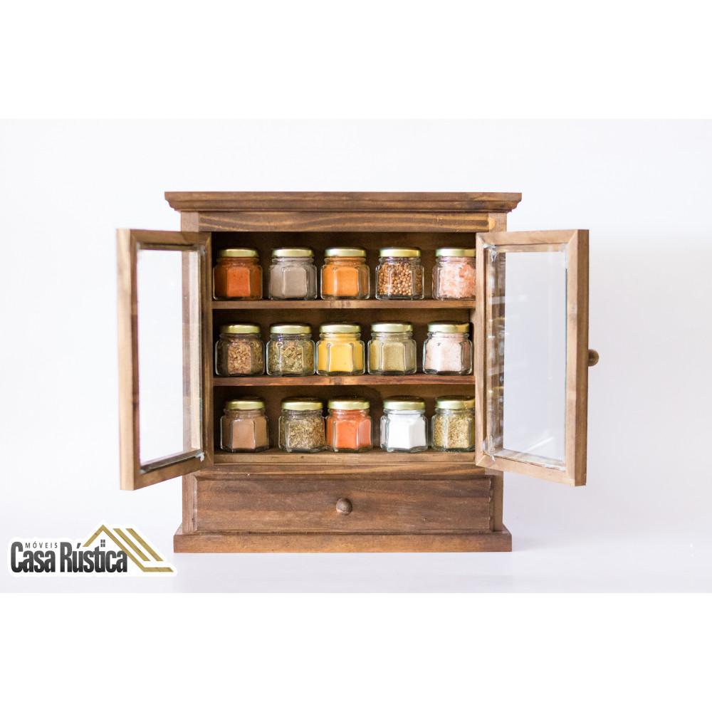 Porta temperos / condimentos com armário de madeira de 2 portas