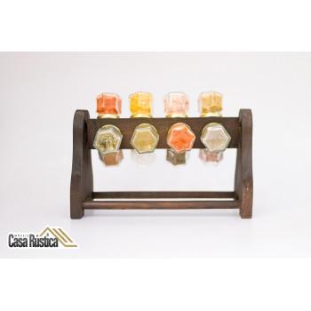Porta temperos / condimentos em madeira tipo giratório com 12 potes