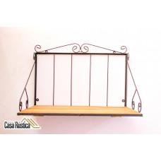 Prateleira para microondas de ferro  com arabescos e madeira