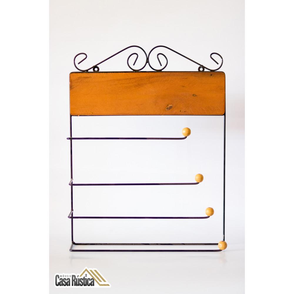 Suporte porta rolo toalha / papel toalha / alumínio / filme para cozinha 4 x 1 - madeira bule azul