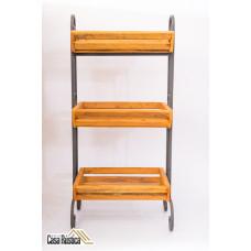 Fruteira rústica ferro e madeira  3 andares