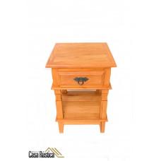 Mesa lateral de madeira de demolição peroba rosa - 1 gaveta