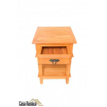 Criado mudo / mesa lateral / mesa de cabeceira - madeira de demolição - peroba rosa – 1 gaveta