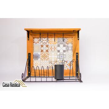 Paneleiro rústico em ferro e madeira com azulejo - (cod06)