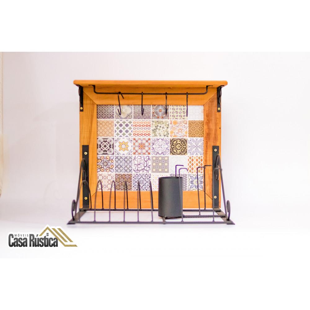 Paneleiro rústico em ferro e madeira com azulejo (cod07)