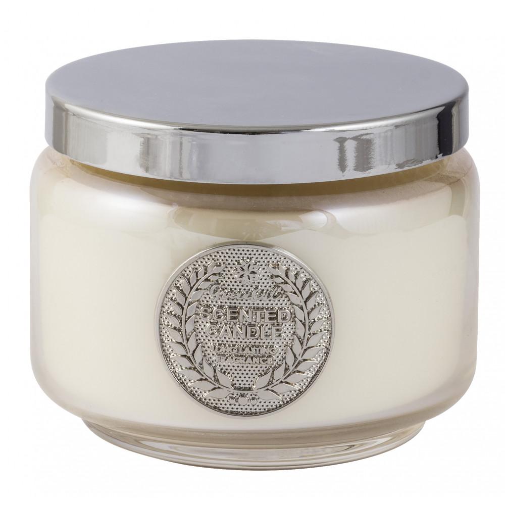 Vela em pote de vidro branco - tamaho m - linha premium - cód 1823