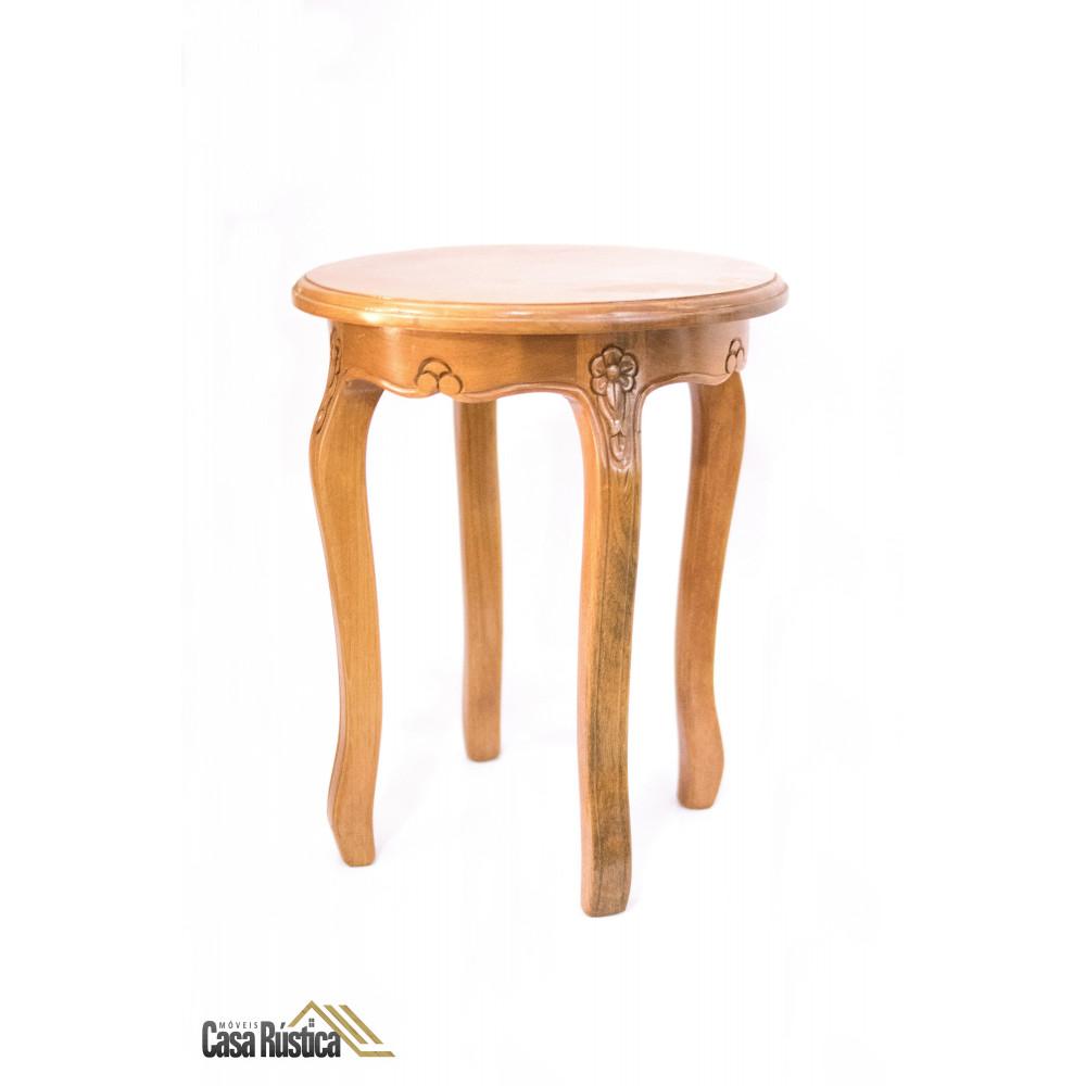 Mesa lateral de apoio redonda luxo - madeira jequitibá - baixa
