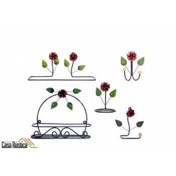 Kit lavabo/banheiro aramado - decoração de interiores - 5 peças - cor: vermelho