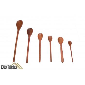 Colher de pau madeira para cozinhar - kit com 6 unidades