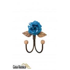 Cabideiro de parede - gancho duplo em ferro - cor azul