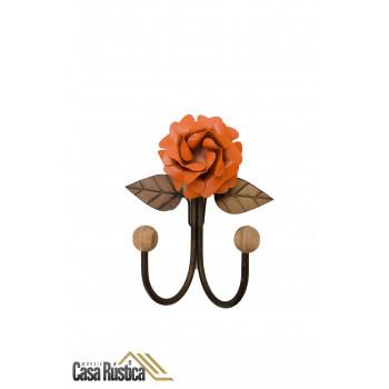 Cabideiro de parede - gancho duplo em ferro - cor laranja