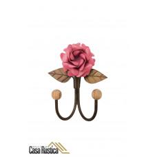 Cabideiro de parede - gancho duplo em ferro - cor rosa