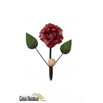 Cabideiro de parede com flor - gancho único em ferro - cor vermelho