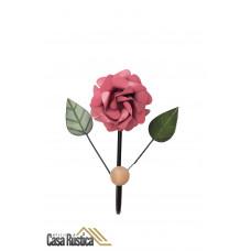 Cabideiro de parede com flor - gancho único em ferro - cor rosa