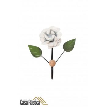 Cabideiro de parede com flor - gancho único em ferro - cor branco