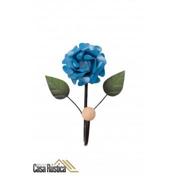 Cabideiro de parede com flor - gancho único em ferro - cor azul