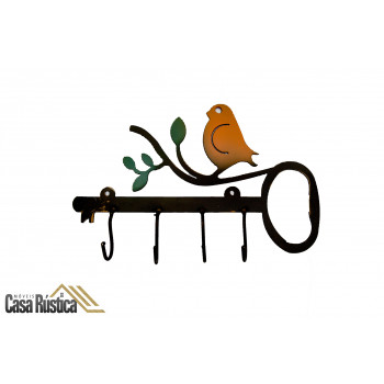 Porta chaves 4 ganchos - passarinho