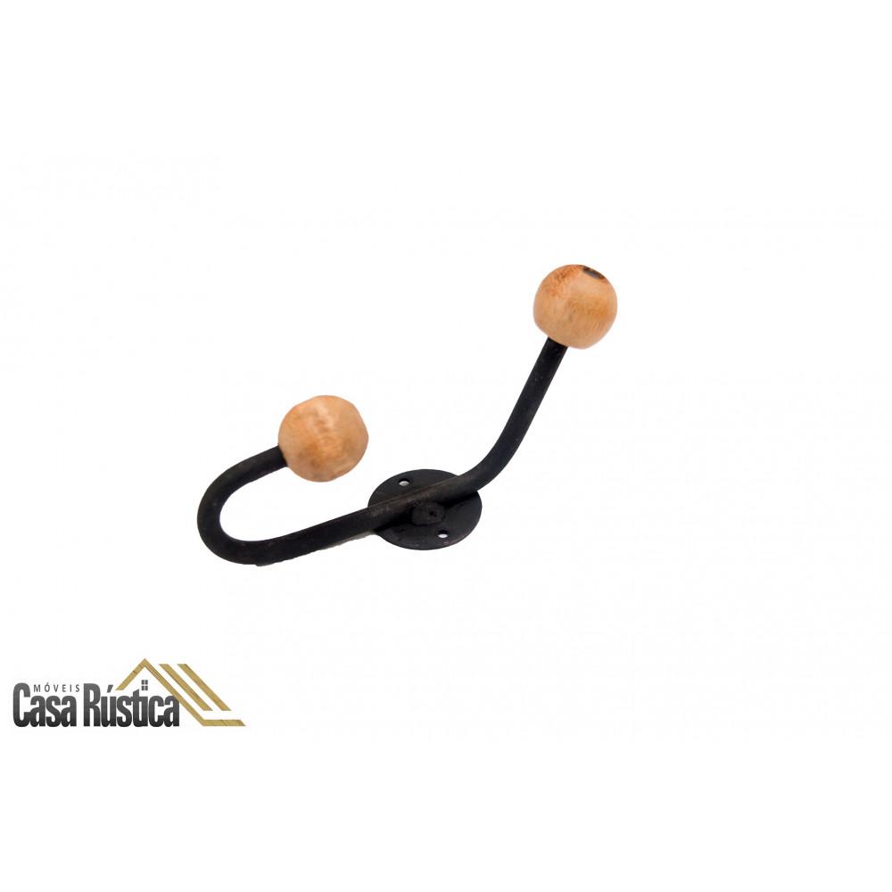 Gancho chapeleiro / cabideiro / toalheiro - bico bolinha de madeira - 13 cm