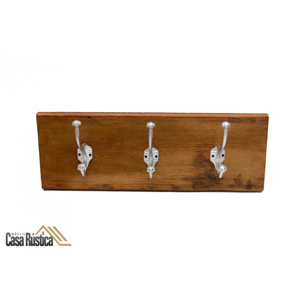 Porta ganchos triplo / chapeleiro / cabideiro / toalheiro em alumínio com madeira de demolição - cor: alumínio natural