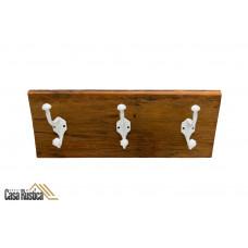 Porta ganchos triplo / chapeleiro / cabideiro / toalheiro em alumínio com madeira de demolição - cor: branco