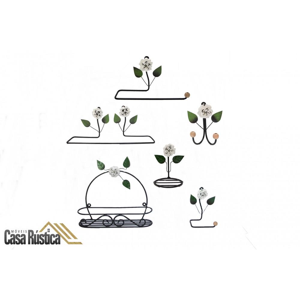 Kit lavabo/banheiro aramado - decoração de interiores – 6 peças – cor: branco