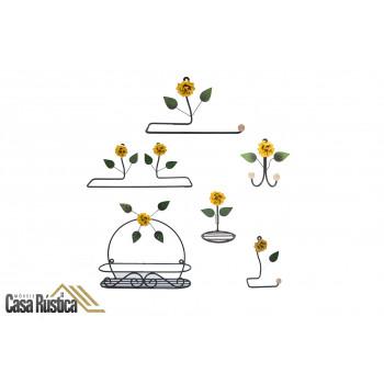 Kit lavabo/banheiro aramado - decoração de interiores – 6 peças – cor: amarelo
