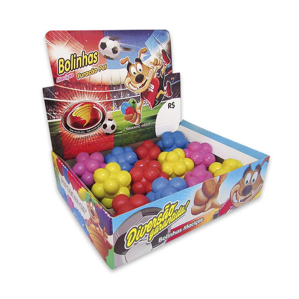 Bola maciça colorida Meteoro para cães Furacão Pet 60 mm - embalagem com 12