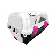 Caixa de transporte para animais Luxo  n1 - branca com rosa
