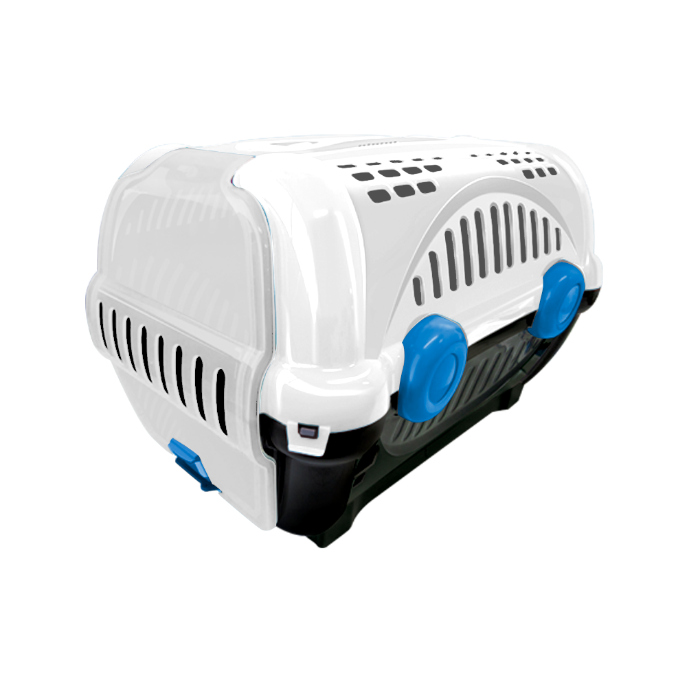 Caixa de transporte para animais Luxo  n2 - branca com azul