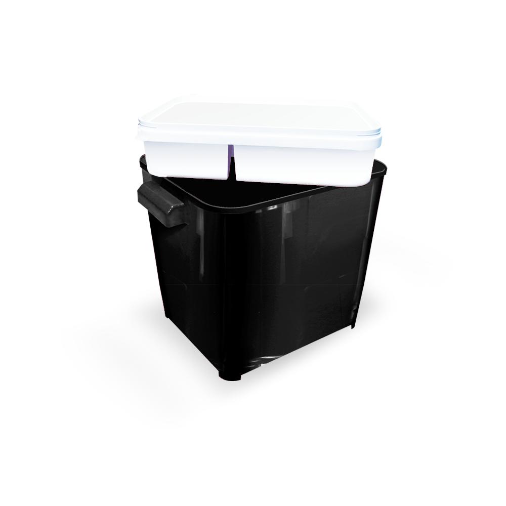 Canister para armazenar ração de Cão ou Gato Furacão Pet com comedouro 4,5 kg (black)