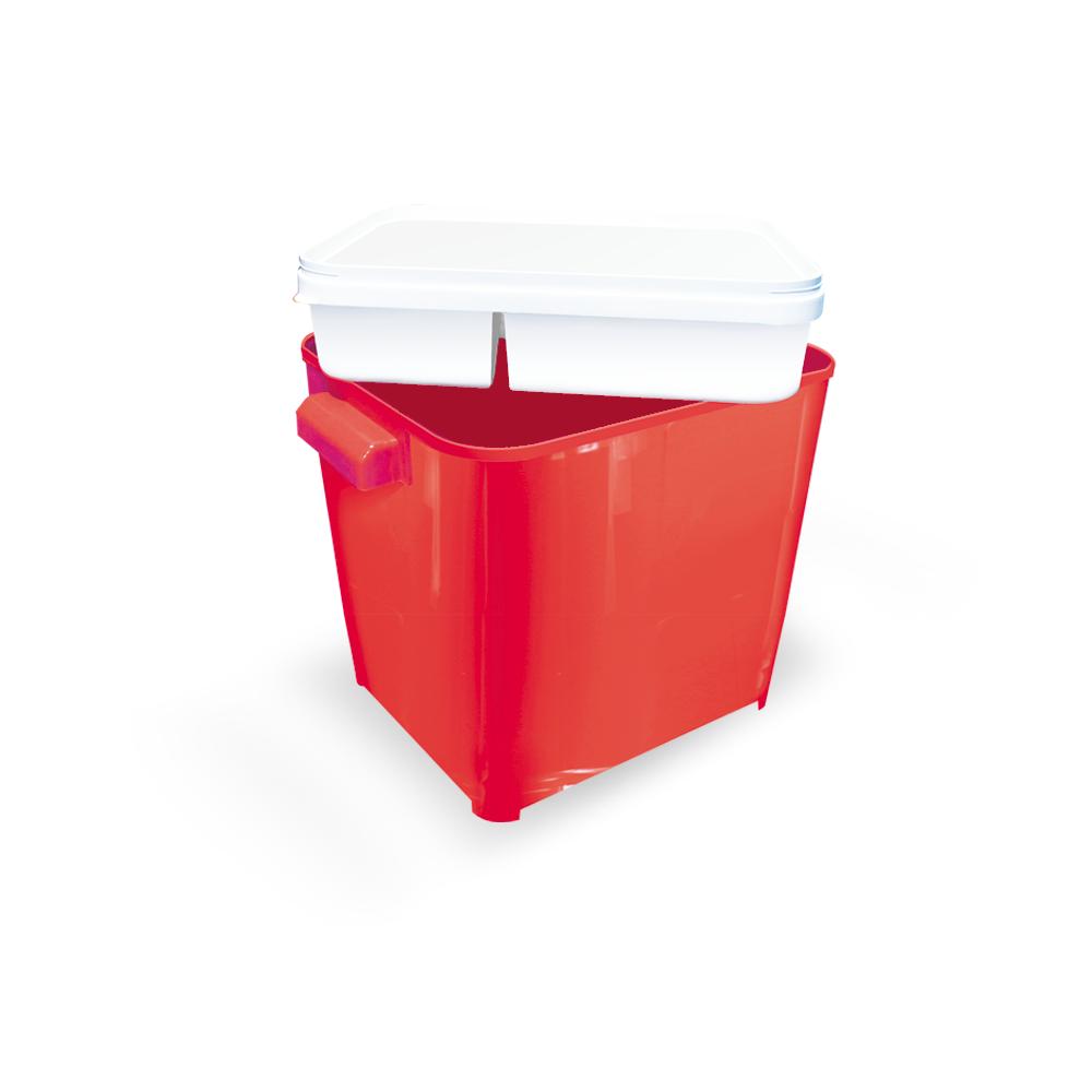 Canister para armazenar ração de Cão ou Gato Furacão Pet com comedouro 4,5 kg (vermelho)