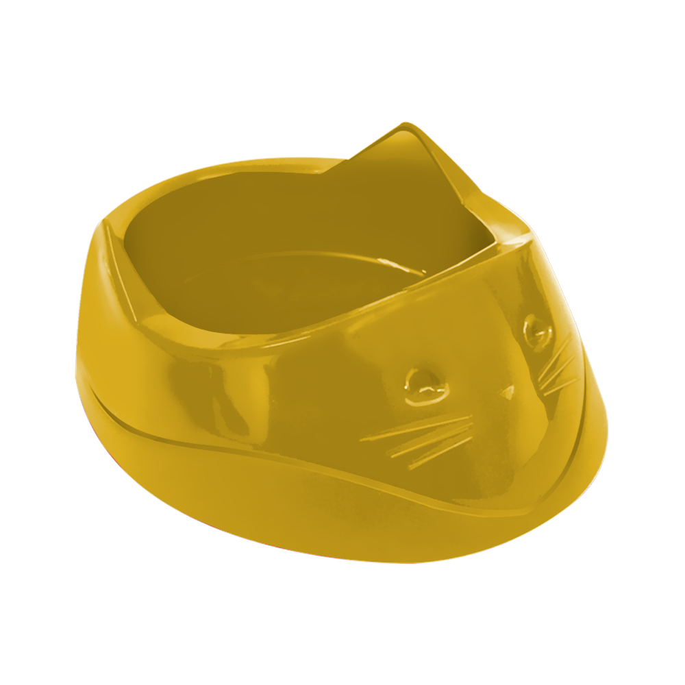 Comedouro plástico Cara do gato Furacão Pet 200 ml (amarelo)