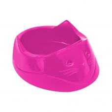 Comedouro plástico Cara do gato Furacão Pet 200 ml (rosa)
