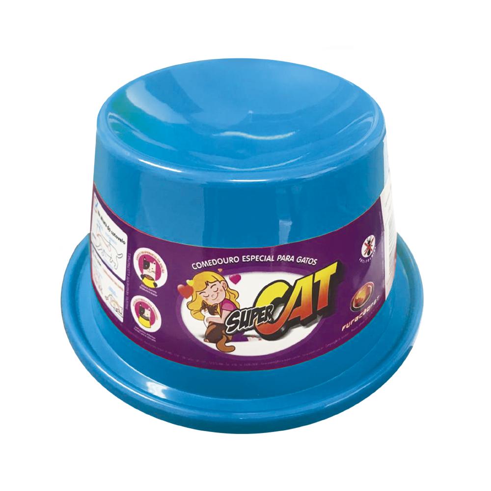 Comedouro plástico Gato super cat Furacão Pet - 200 ml (azul)