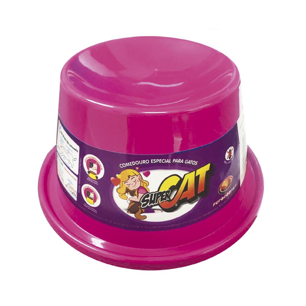 Comedouro plástico Gato super cat Furacão Pet - 200 ml (rosa)