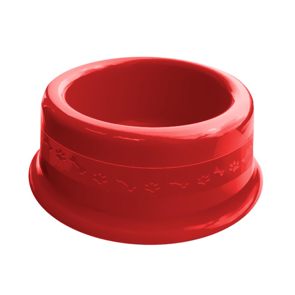 Comedouro plástico para cães e gatos Furacão Pet N3 - 1000 ml (vermelho)
