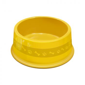 Comedouro plástico para cães e gatos Furacão Pet N4 - 1900 ml (amarelo)