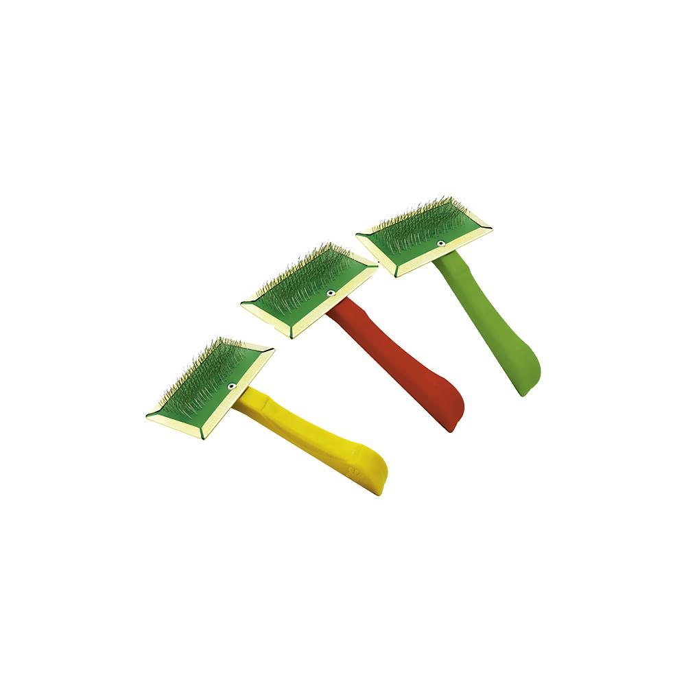 Escova raqueadeira com cerdas de aço para pêlos de cães e gatos - cores sortidas