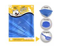 Kit gatos Classic com 3 peças com 1 Bandeja 1 Comedouro e 1 Pá Higienica Furacão Pet - azul