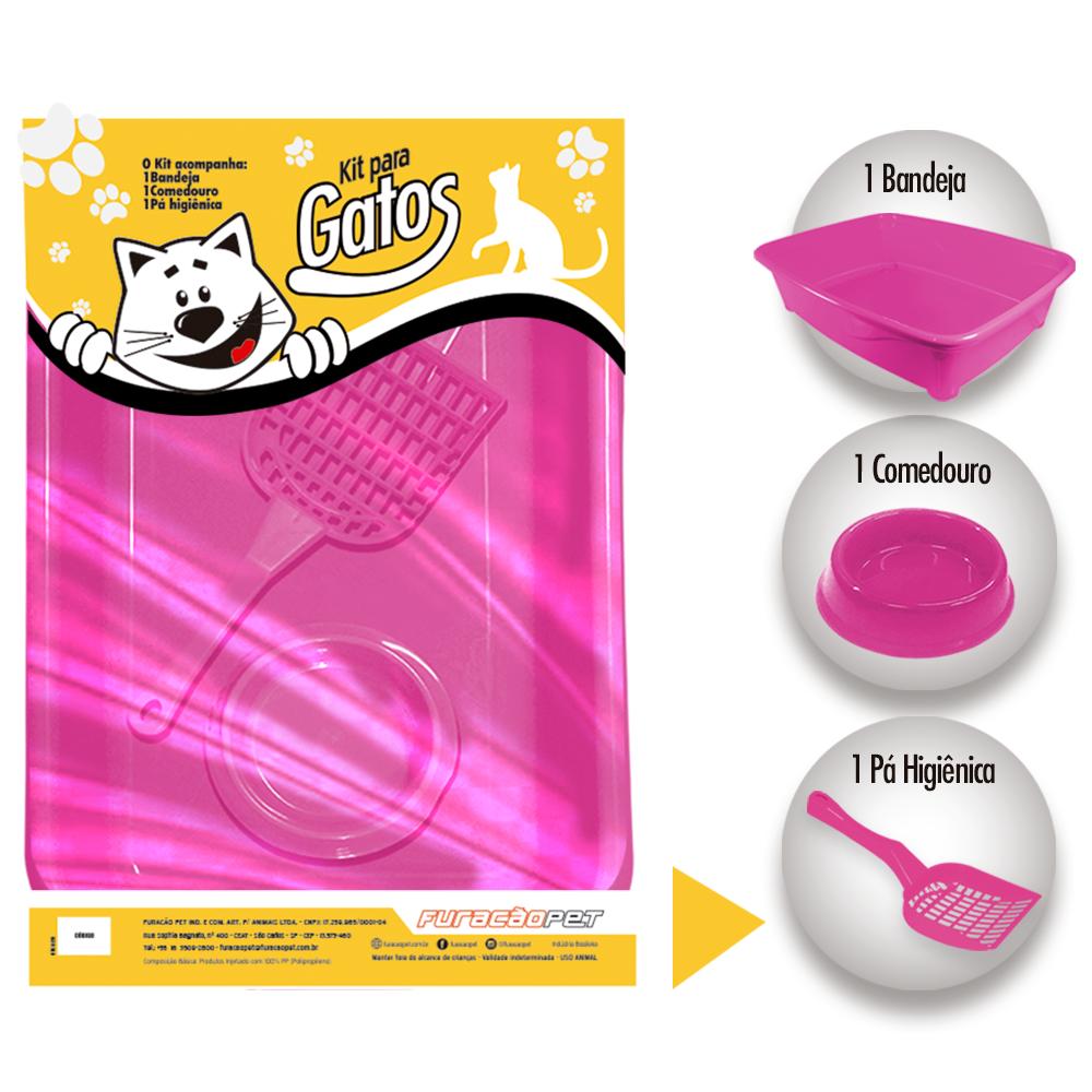 Kit gatos Classic com 3 peças com 1 Bandeja 1 Comedouro e 1 Pá Higienica Furacão Pet - rosa
