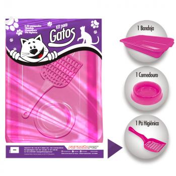 Kit gatos Joy com 3 peças com 1 Bandeja 1 Comedouro e 1 Pá Higienica Furacão Pet - rosa