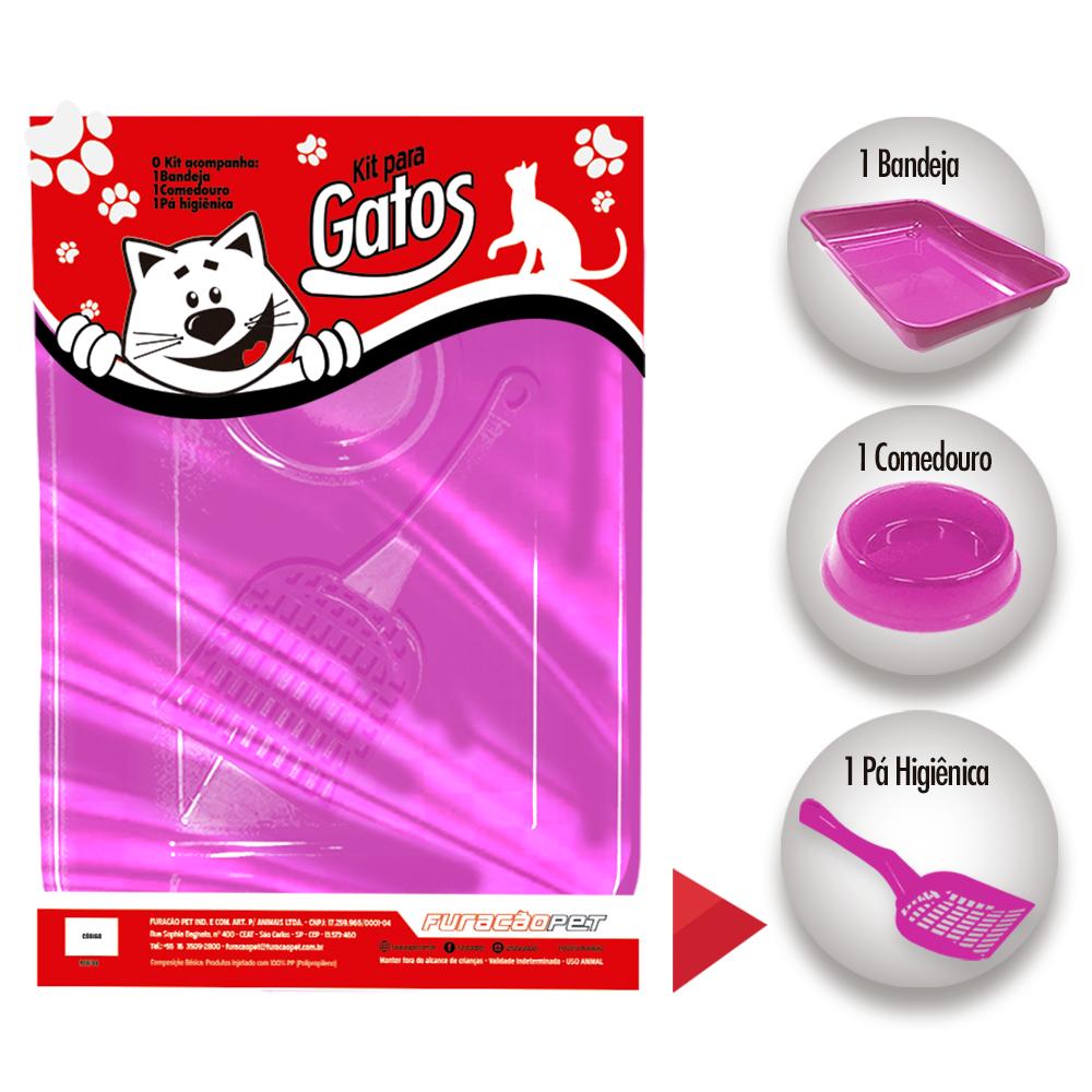 Kit gatos Pop com 3 peças com 1 Bandeja 1 Comedouro e 1 Pá Higienica Furacão Pet - rosa