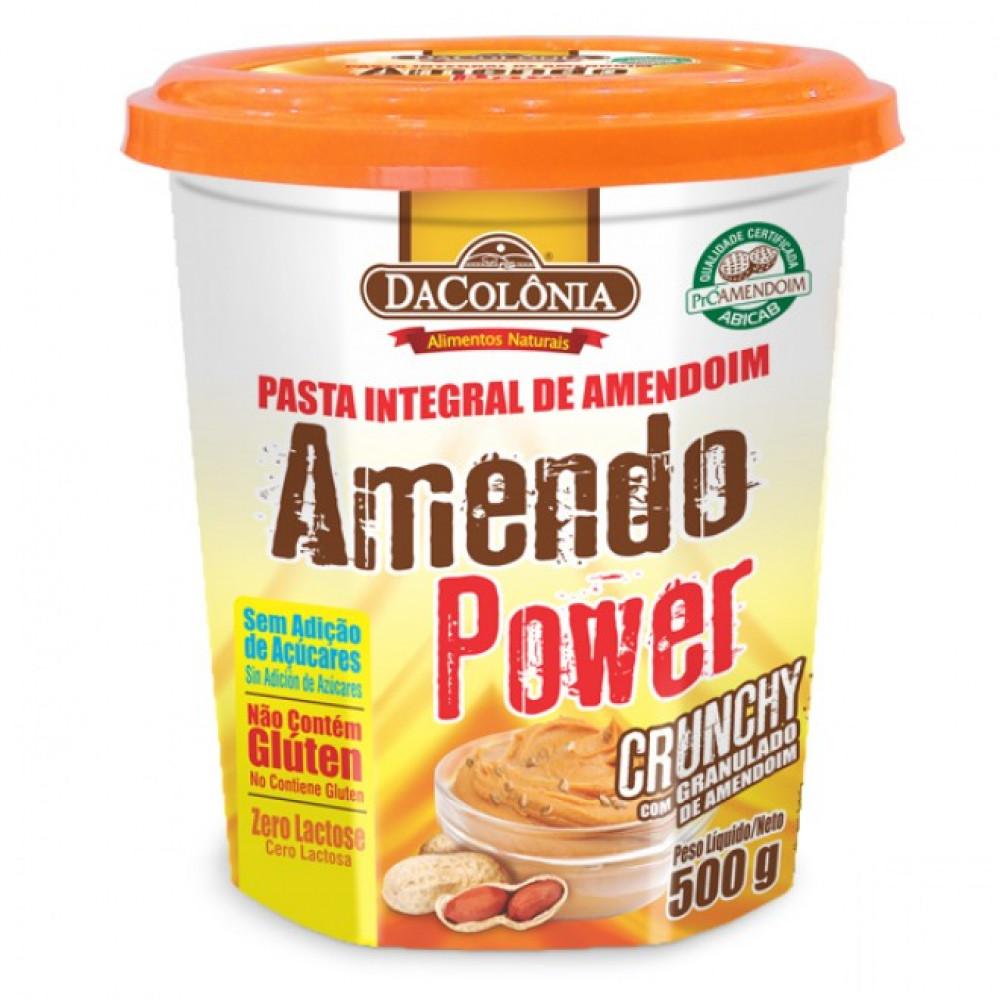 Pasta Integral de Amendoim Sem Adição de Açucar/Zero Lactose DaColônia - sabor  Crunchy com Granulado de Amendoim - 500G